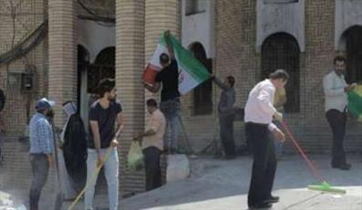 جوانان بصره کنسولگری ایران را آب و جارو کردند +عکس