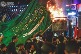 سوگواری عزاداران حسینی در جوار حرم حضرت امیر المؤمنین (ع)+ تصاویر