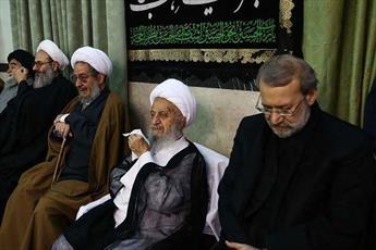 رئیس مجلس شورای اسلامی در مراسم عزاداری بیوت مراجع حضور پیدا کرد