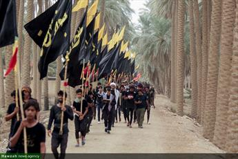 تصاویر/ پیاده روی زائران اربعین از طریق العلما کنار رود فرات