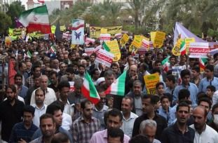 خروش انقلابی مردم با فریاد «مرگ بر آمریکا» در کرانه خلیج فارس
