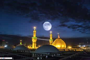 تصاویر زیبا از گنبد حرم امام حسین (ع) در شب مهتابی