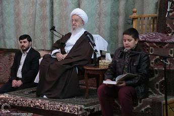 تصاویر/ دیدار خانواده طلاب و روحانیون حافظ با آیت الله العظمی مکارم شیرازی