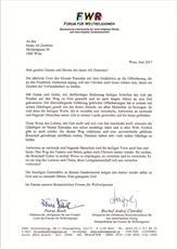 نامهی رییس مجمع ادیان جهانی به مرکز اسلامی وین