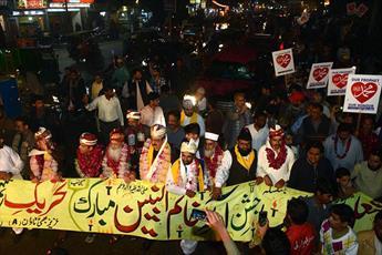 آغاز راهپیمایی «جشن میلاد پیامبر ص» در پاکستان